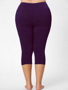 lace mesh panel plus size capri leggings deep purple: plus size