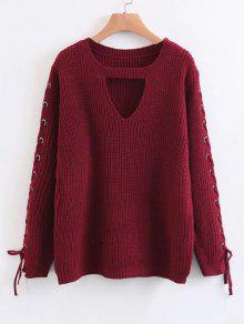 Encaje Hasta Chunky Choker Suéter - Rojo
