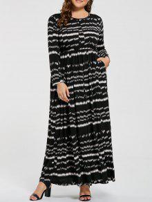 بالإضافة إلى حجم مخطط مرونة الخصر ماكسي فستان طويل الأكمام - أسود 6xl