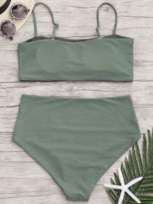 Y Ejercito Talla De Apliques Talle Verde Xl Bikini Grande Con Alto XpPFqw