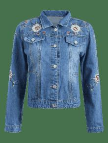 Chic Floral Embroidered Button Up Jean Jacket DENIM BLUE: Jackets ...