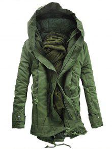 Buy Hooded Double Zip Padded Parka Coat - ARMY GREEN L