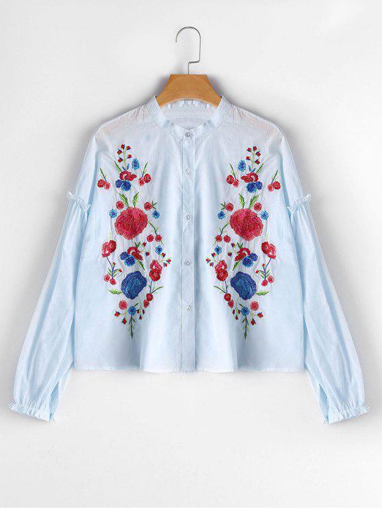 Blouse Brodée à Fleurs à Boutons - Bleu Léger  S