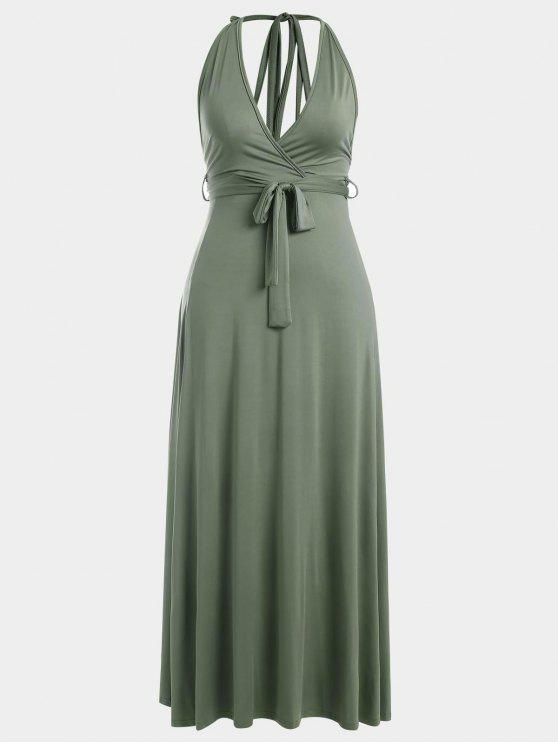 Halter Slit Backless Maxi Dress - Vert Armée S
