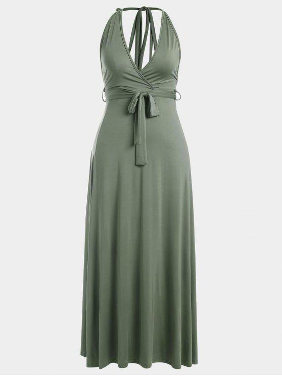 Halter Slit Backless Maxi Dress - Vert Armée S