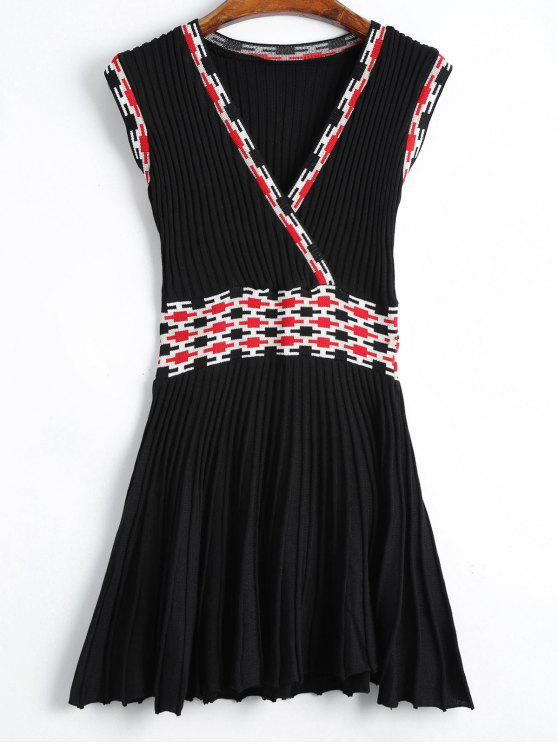 Robe Tricotée Graphique sans Manches - Noir TAILLE MOYENNE