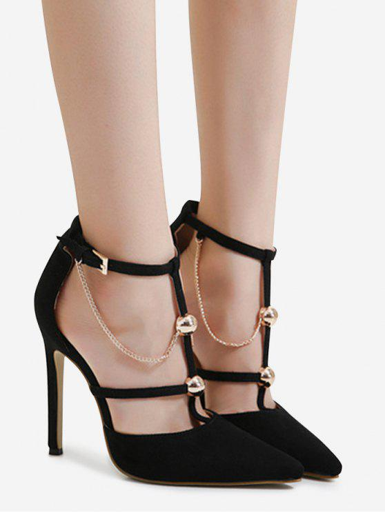 Metal Chain T-strap Faux Suede Pumps - Preto 39