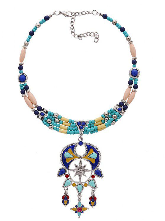 women's Statement Beaded Teardrop Bib Necklace - BLUE