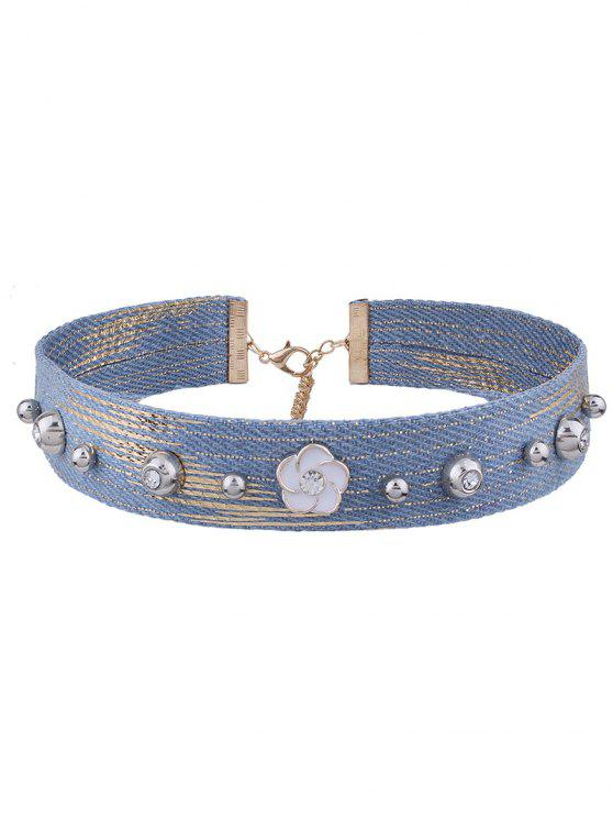 lady Rhinestone Denim Flower Choker Necklace - DENIM BLUE