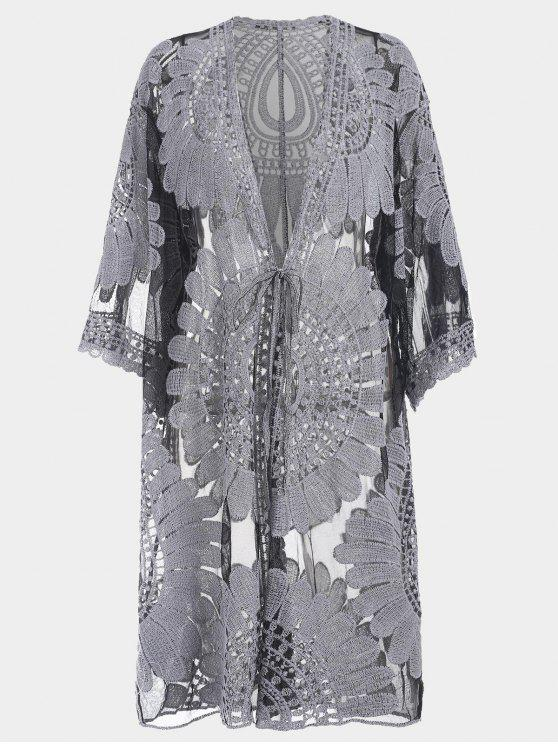 Tamanho grande Kimono Self Tie Cover Up Dress - Preto 2XL