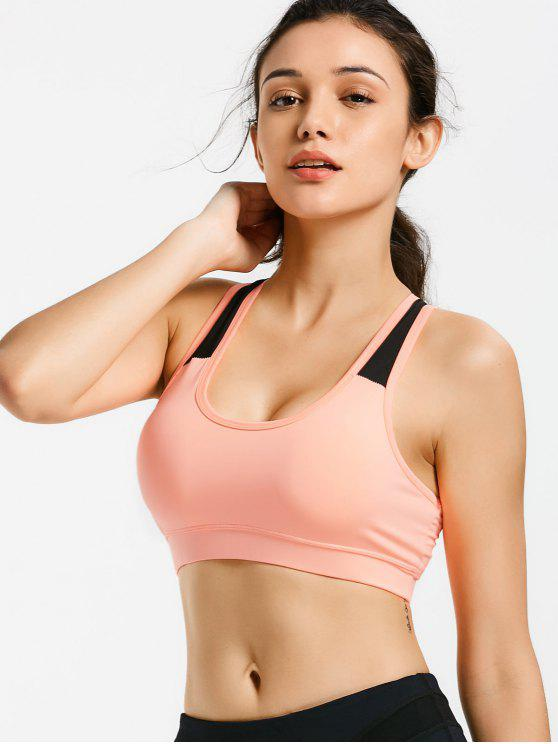 fashion Padded Racerback Cut Out Sporty Bra - ORANGEPINK L