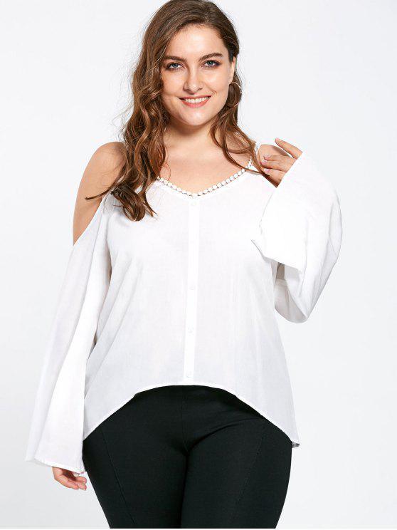 Más tamaño de rocío hombro mangas blusa manga - Blanco 5XL