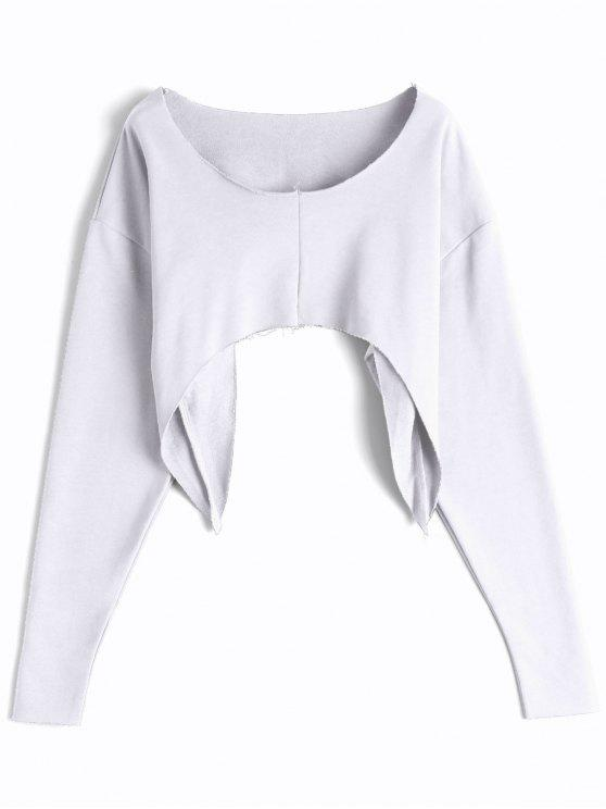 Pull asymétrique Streetwear Cropped - Blanc TAILLE MOYENNE