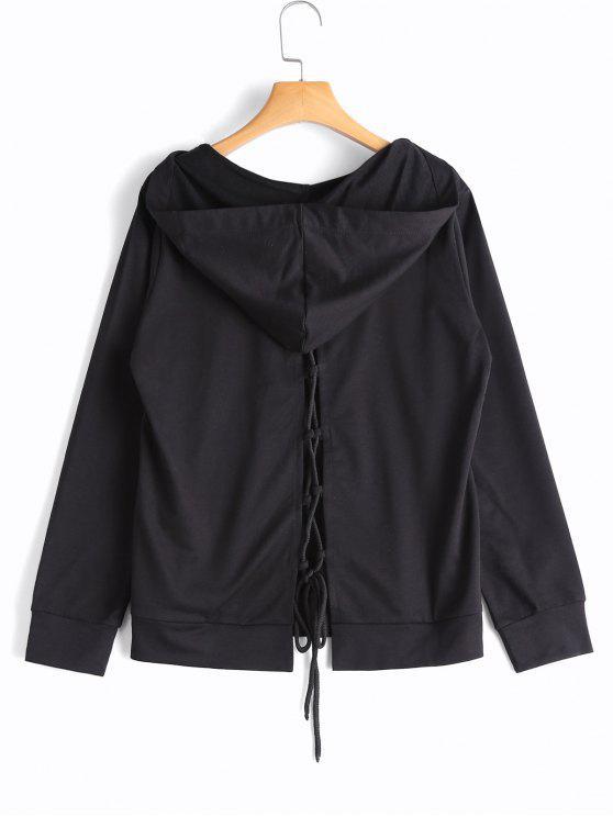 latest Back Lace Up Kangaroo Pocket Hoodie - BLACK M