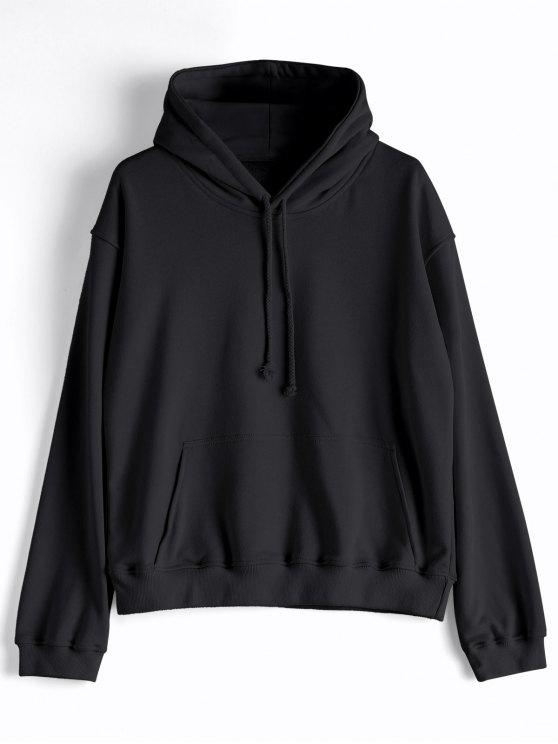 fashion Casual Kangaroo Pocket Plain Hoodie - BLACK L