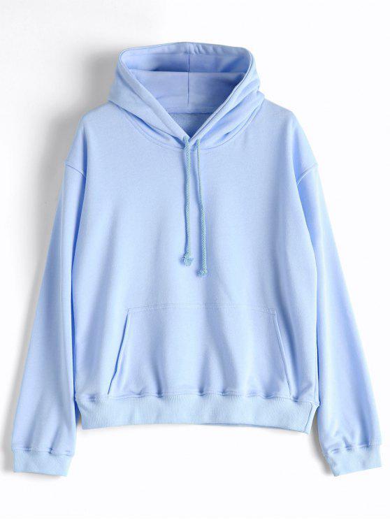 Casual Kangaroo Pocket Plain Hoodie - Azul Claro L