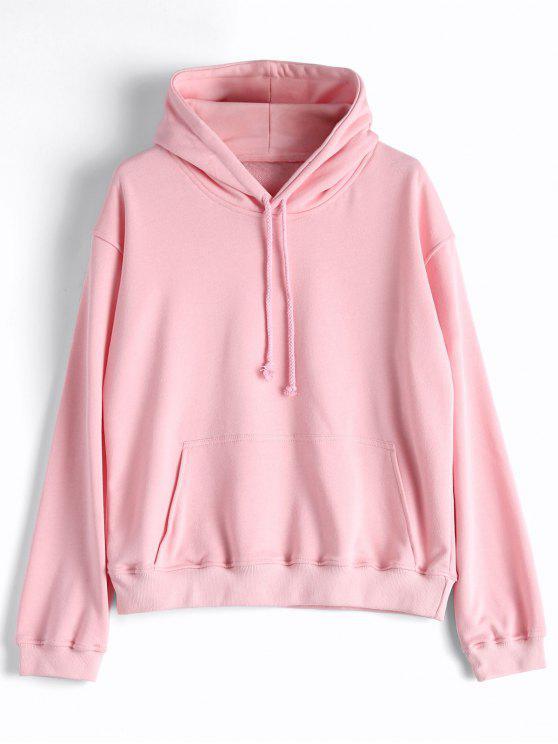 womens Casual Kangaroo Pocket Plain Hoodie - PINK M