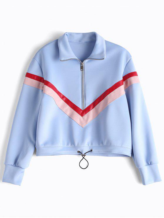 online Faux Leather Panel Half Zipper Sporty Top - LIGHT BLUE M