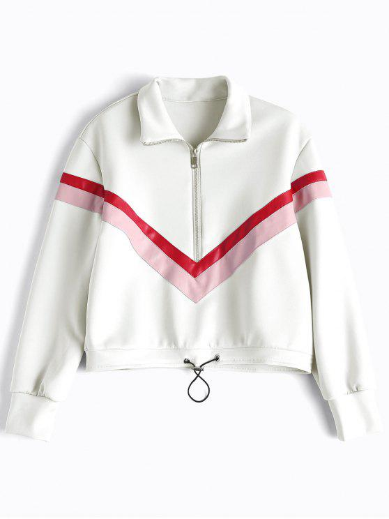 Faux Leather Panel Half Zipper Sporty Top - Blanco L