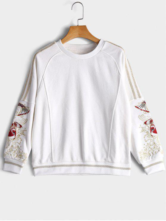 fancy Gilding Fish Embroidered Sweatshirt - WHITE L