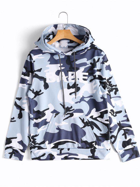 Hoodie mit Känguru Tasche und Camomuster - Camouflage L