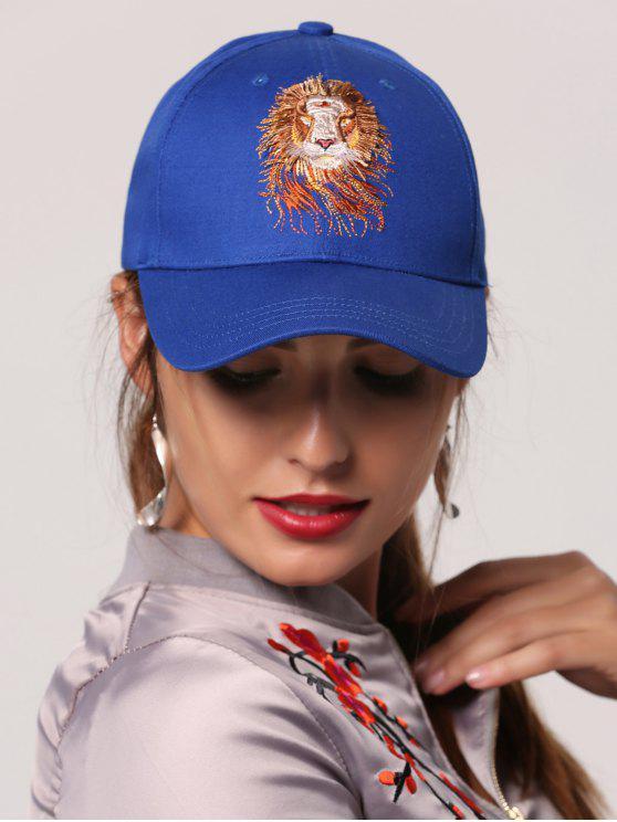 Lion Head Broderie Baseball Hat - Royal