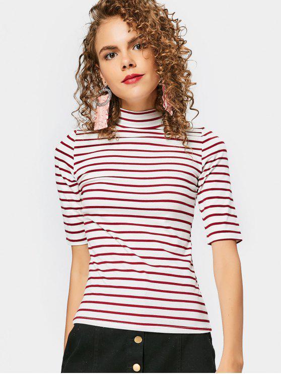 High Neck Striped Tee - Dunkelrot M