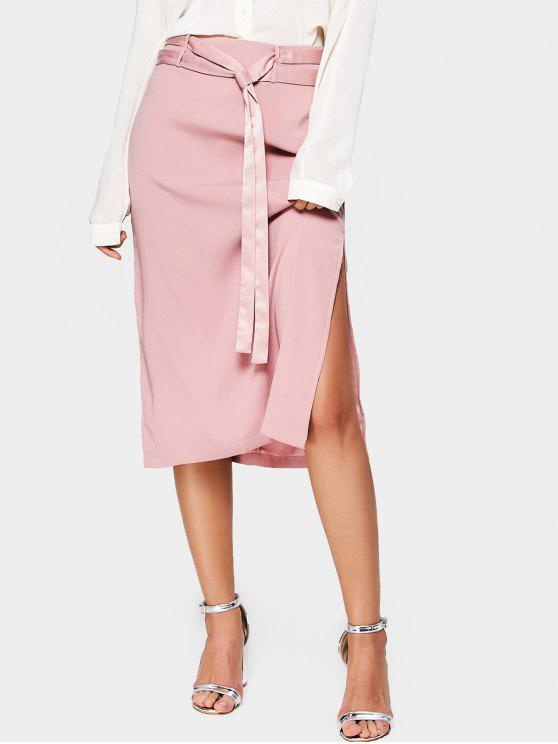 outfit Side Slit Belted A Line Midi Skirt - PINK L