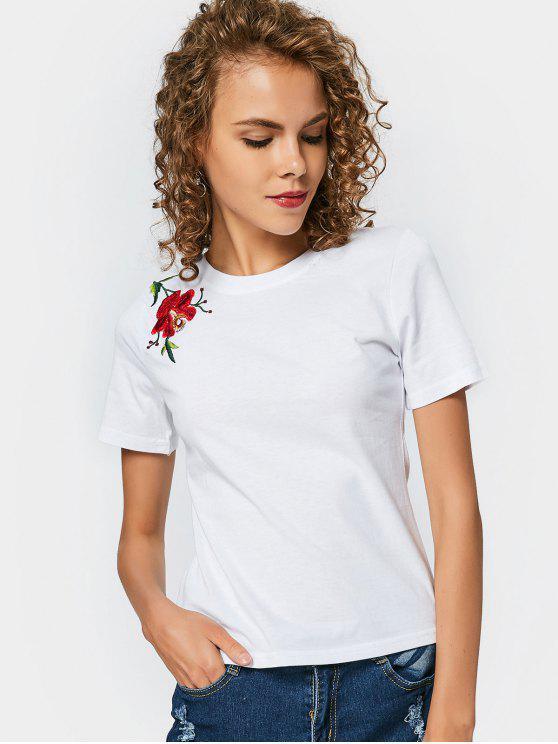 Blumen Geflicktes Runder Kragen T-Stück - Weiß L
