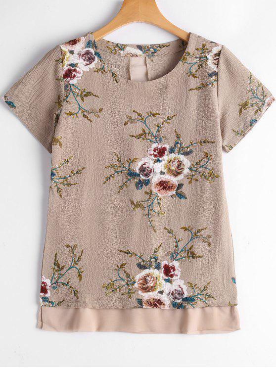 Blumen Druck Patchwork Bluse - Fleischfarben S