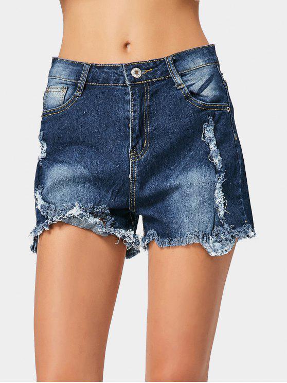 Zerrissene fransen jeans shorts dunkelblau hosen kurz 2xl - Zerrissene jeans damen ...