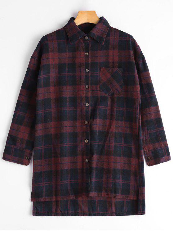 Camicia a lunga coda in basso a plaid - Blu e Rosso XL