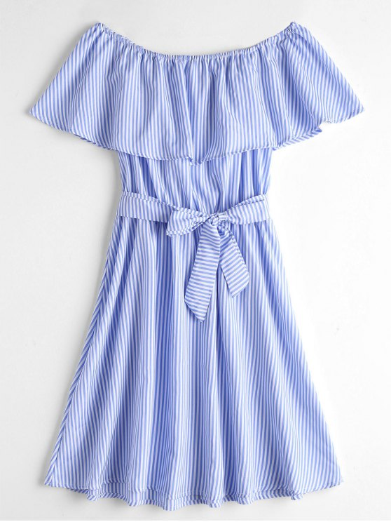 hot Overlay Off Shoulder Striped Belted Dress - BLUE AND WHITE XL