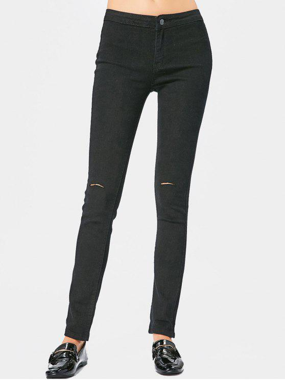 fancy Ripped High Waist Pants - BLACK L
