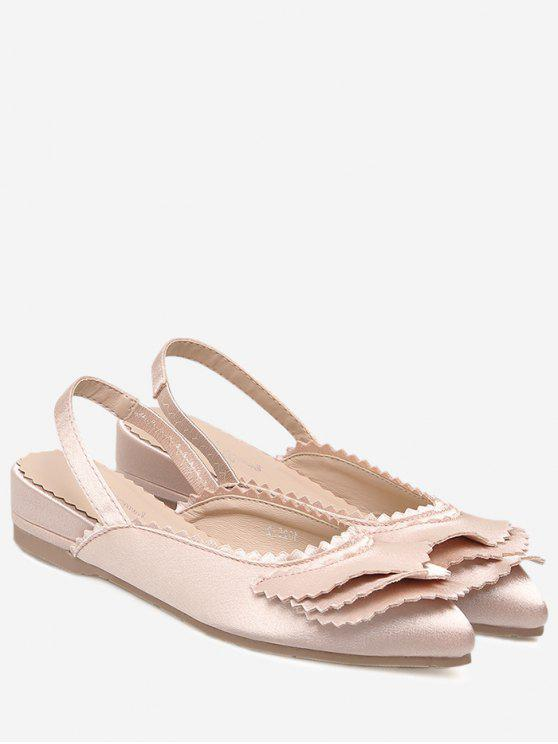 Toothhed Edge Slingback Flat Shoes - Rosa Claro 37