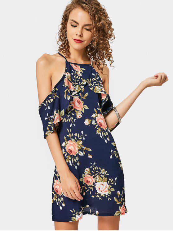 Kaltes Schulter-Blumendruck-Cami-Kleid - Blumen XL