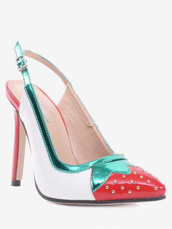 online Studded Strawberry Pattern Slingback Pumps - WHITE 40