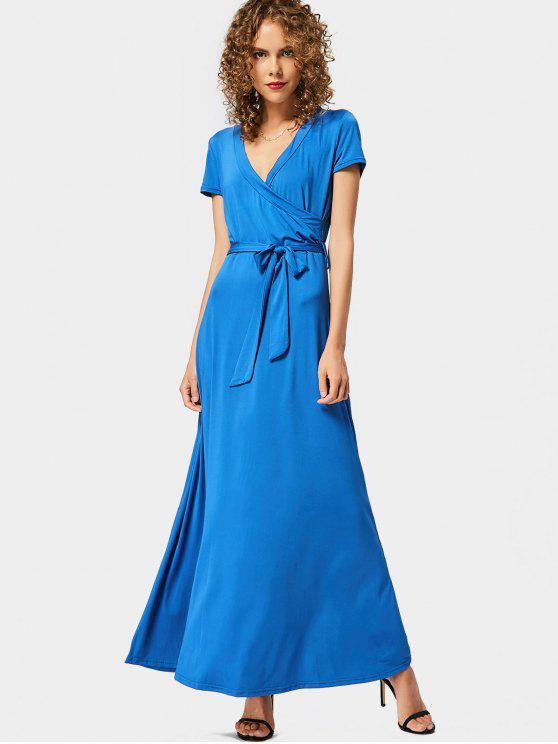 Niedriges Ausschnitt Gürtel Maxi Kleid - Blau M