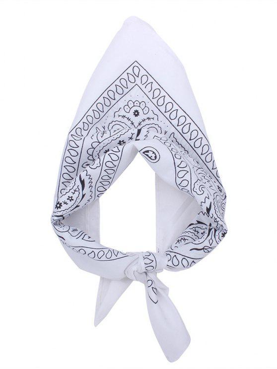 Écharpe carrée pour imprimé Paisley - Blanc