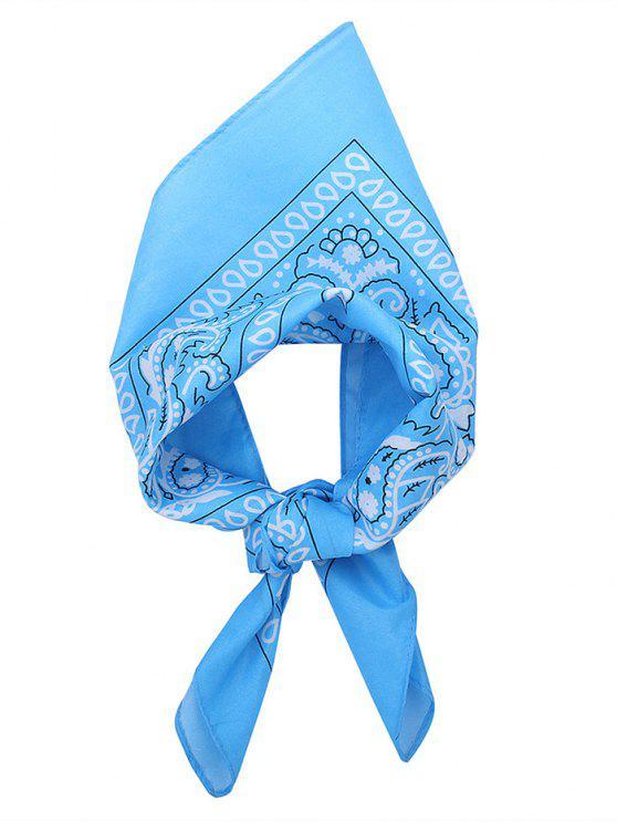 Quadratischer Schal mit Paisley Druck - Hellblau