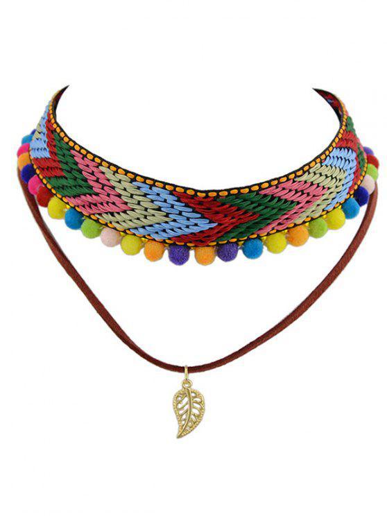 affordable Colorful Pom Pom Weaving Choker - COLORMIX