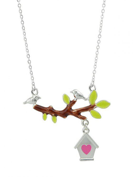 womens Bird Branch Love House Necklace - SILVER