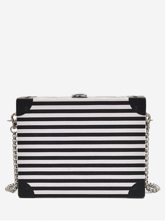 women Box Shaped Striped Pattern Crossbody Bag - WHITE AND BLACK