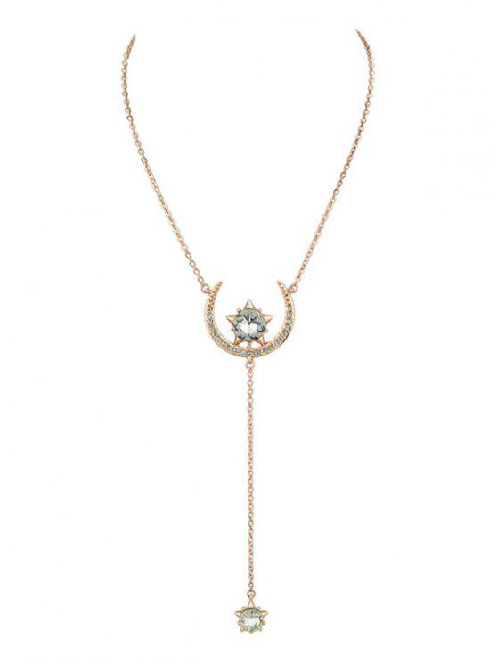 Moon Star Pendant Necklace - Rosa Dourado
