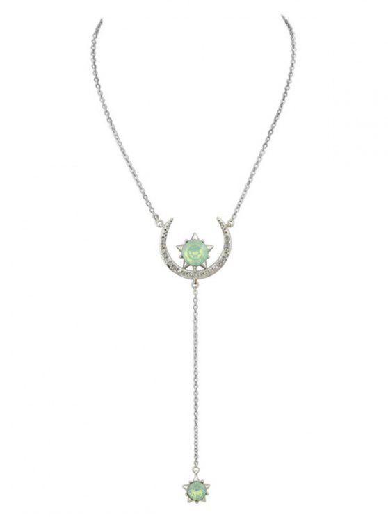 lady Moon Star Pendant Necklace - SILVER