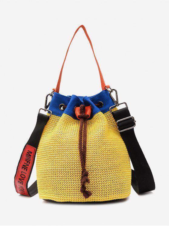 best Color Block Weave Drawstring Bucket Bag - YELLOW