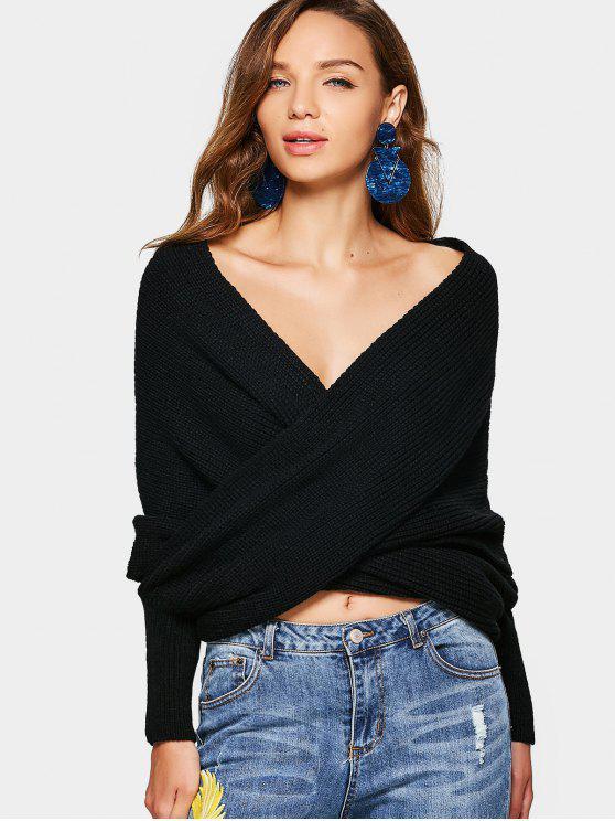 Maglione incrociato incrociato incrociato - Nero Una Taglia