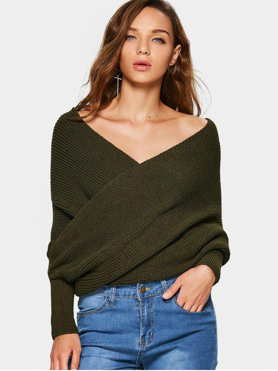 online Crossed Front Chunky Wrap Sweater - ARMY GREEN ONE SIZE