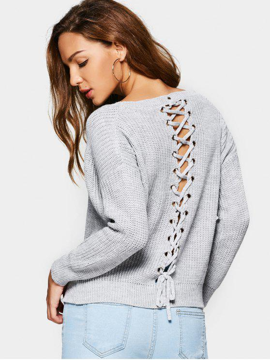 new Loose Chunky Lace Up Sweater - GRAY ONE SIZE