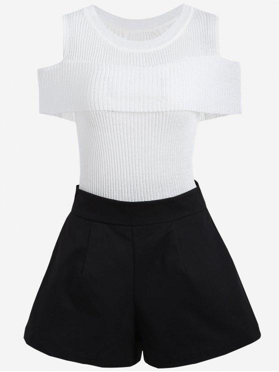 Strickwaren mit Kalter Schulter und Übergröße Shorts - Weiß & Schwarz 2XL